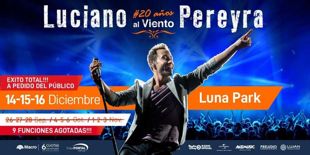 1, 2, 3, 6, 9 y... #12Lunas! Qué año #LucianoPereyra!   Con 9 presentaciones agotadas @lucianopereyraoficial anuncia 3 más, 14, 15 y 16 de diciembre 2019. Entradas a la venta por sistema Ticketportal, y desde mañana en boletería del estadio, saludos! #20AñosAlViento #LunaPark