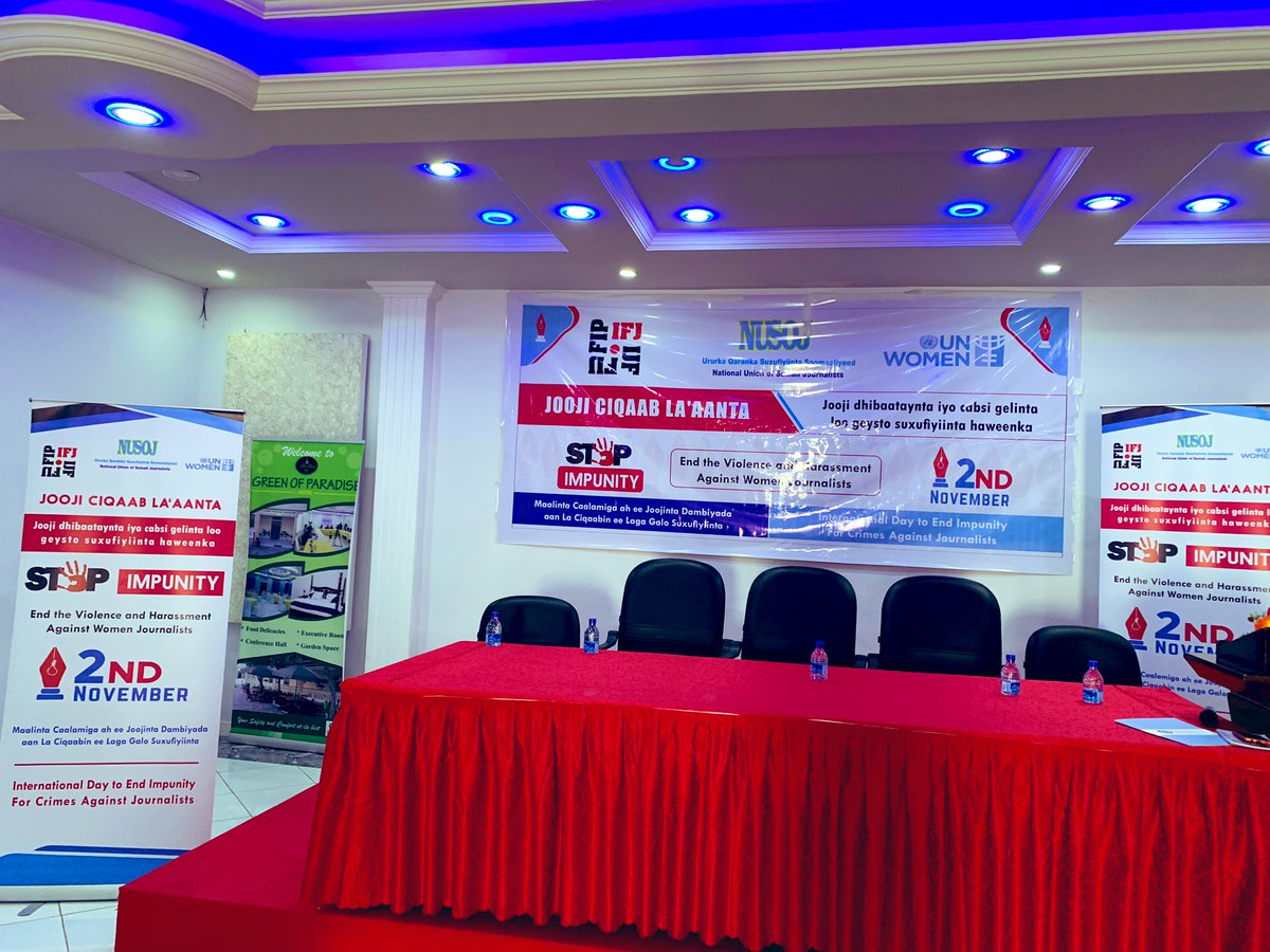 Stage is set to mark the International Day to End Impunity of Crimes against Journalists in #Mogadishu, #Somalia. @IFJGlobal and UN Women, focussing now violence and harassment against women journalists. #NoImpunity #IDEI #EndImpunity