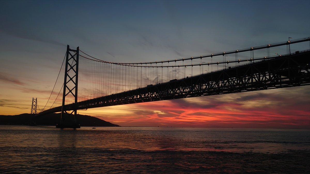 雲が赤い #イマソラ #無加工 #スマホカメラ部 #明石海峡大橋 #舞子 #NoFilter #夕暮れ #夕焼け #ノーフィルター #シルエット #sunset #空 #sky #そら #Japan #Xperia #だから私はXperia #Xperiaで写真撮るのが好き