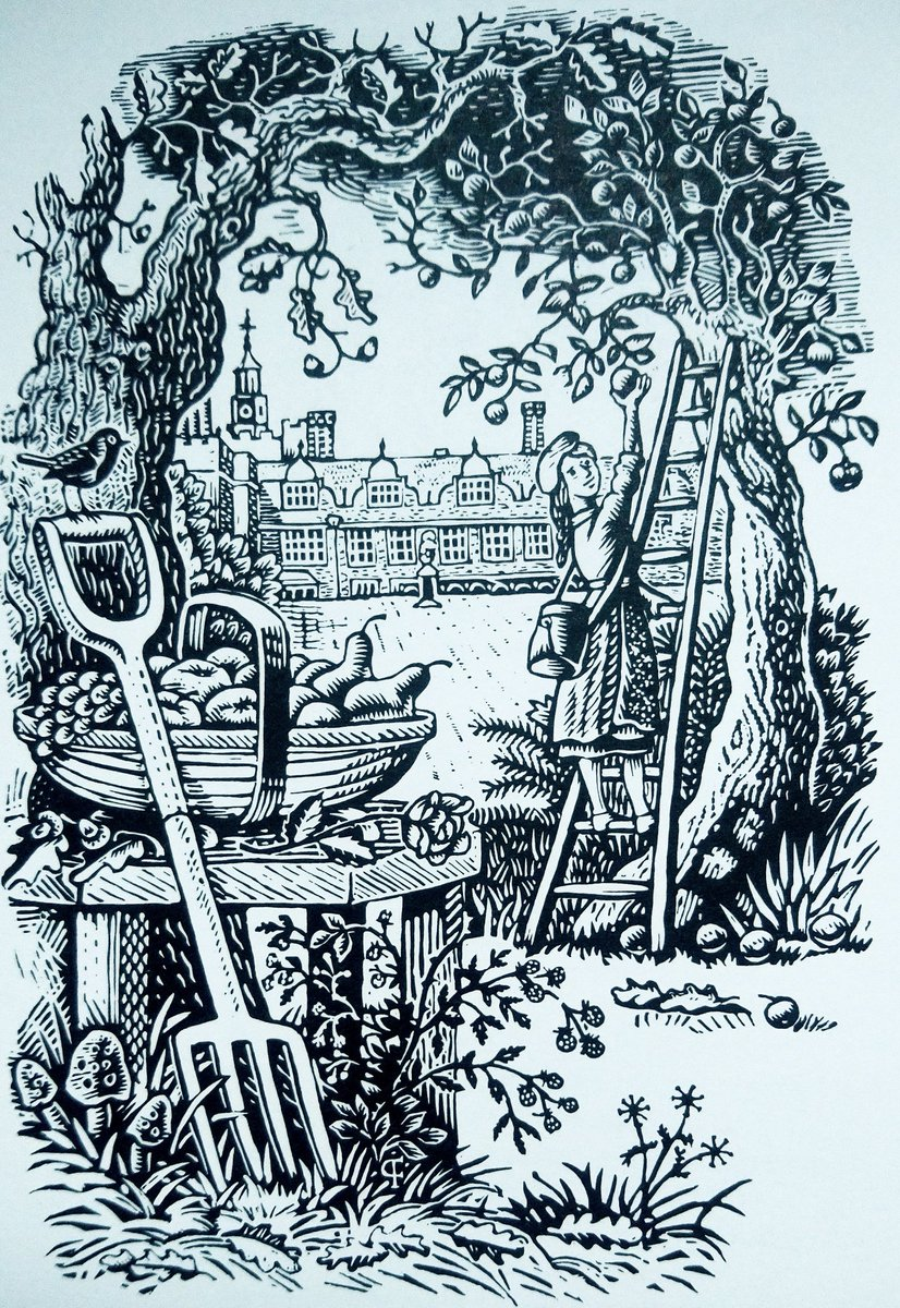 "#BookIllustrationOfTheDay is by Peter Firmin for ""The Land"" and ""The Garden"" by Vita Sackville-West (1989). Here's Autumn, with apple picking. A bit late in the season for that, perhaps, but these vinyl prints by Firmin are gorgeous, beautifully designed, brilliantly executed. <br>http://pic.twitter.com/pL2vsaPk1n"