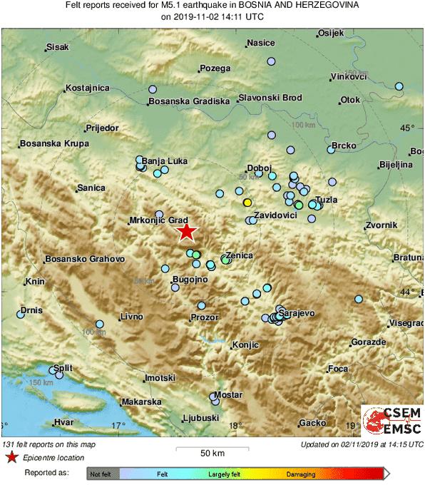 Zemljotres jačine  5.2 po Richteru pogodio Bosnu i Hercegovinu