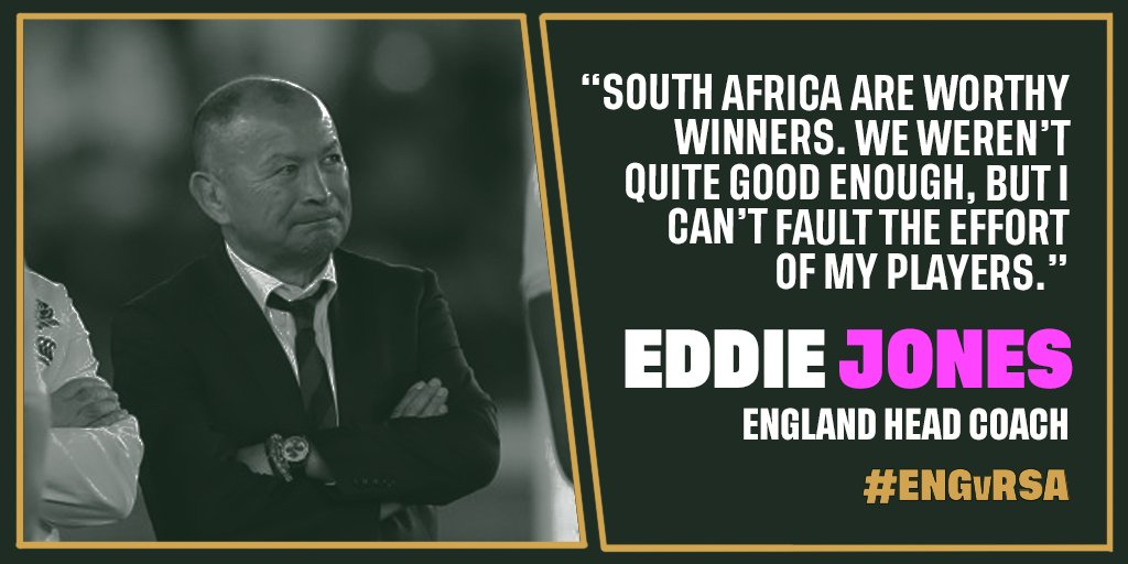Worthy winners Eddie Jones congratulates South Africa and reflects on the #RWCFinal, read the full story ➡️ bit.ly/2oIWOPQ