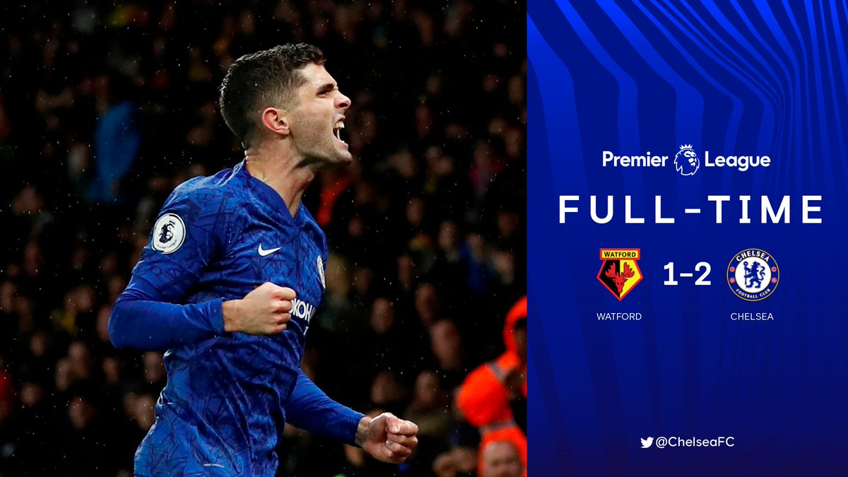 Full-time: Watford 1-2 Chelsea! @tammyabraham and @cpulisic_10 with the goals as the Blues collect the three points at Vicarage Road! GET IN! 🙌 #WATCHE