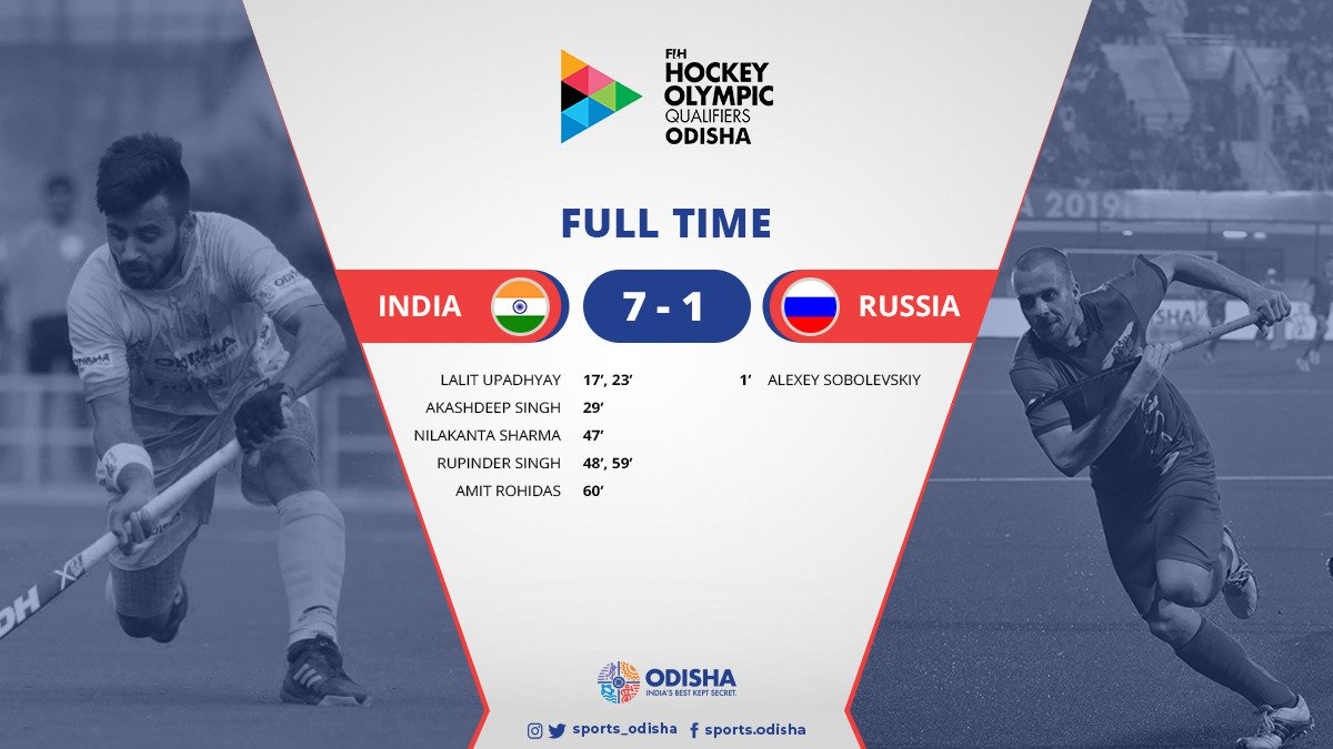 🏑 | FULL TIME |Second consecutive victory for #MenInBlue and they have sealed their spot in @Tokyo2020! 👊🥳#OdishaForHockey #RoadToTokyo #Tokyo2020 #INDvRUS