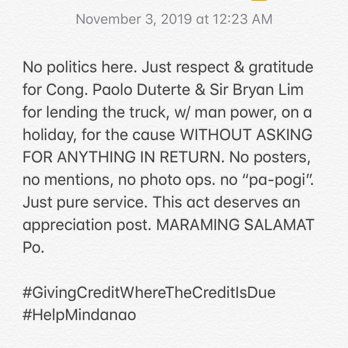 #GivingCreditWhereTheCreditIsDue #HelpMindanao