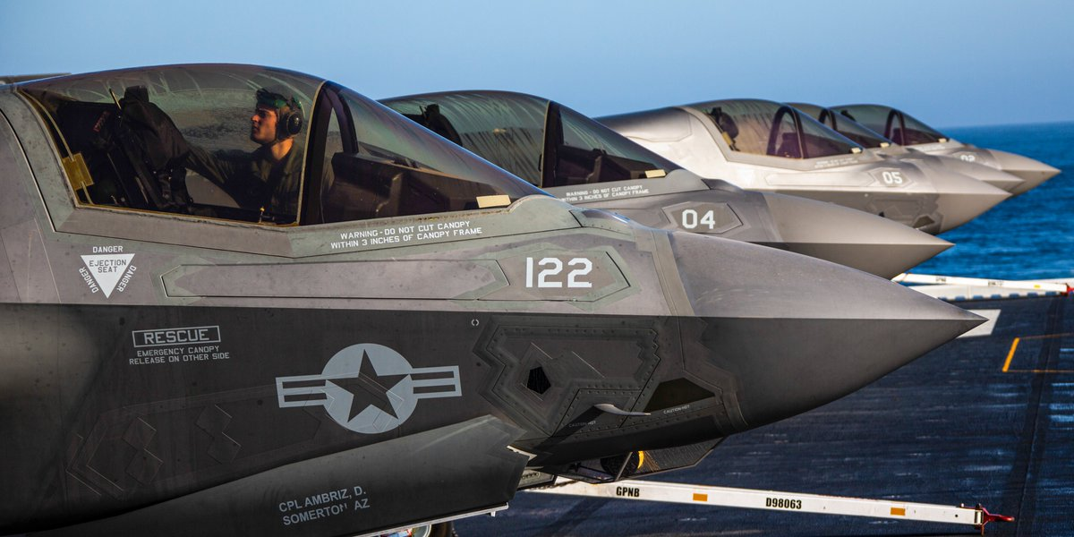 The Gangs All Here F-35B Lightning IIs with Marine Fighter Attack Squadron 122, 13 Marine Aircraft Group, @3rdmaw, are staged in preparation for routine training aboard the @USNavy amphibious assault ship USS America in the eastern Pacific.