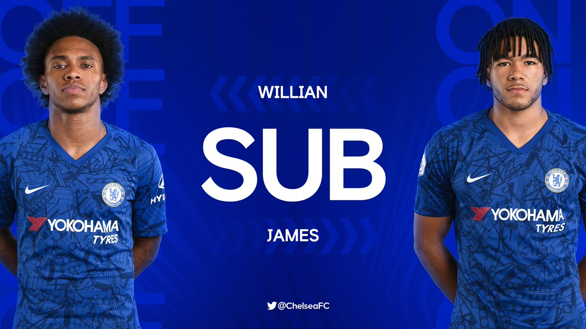 Frank Lampard makes his final change, Willian off for Reece James. 🐝 1-2 🔵 [90+4'] #WATCHE