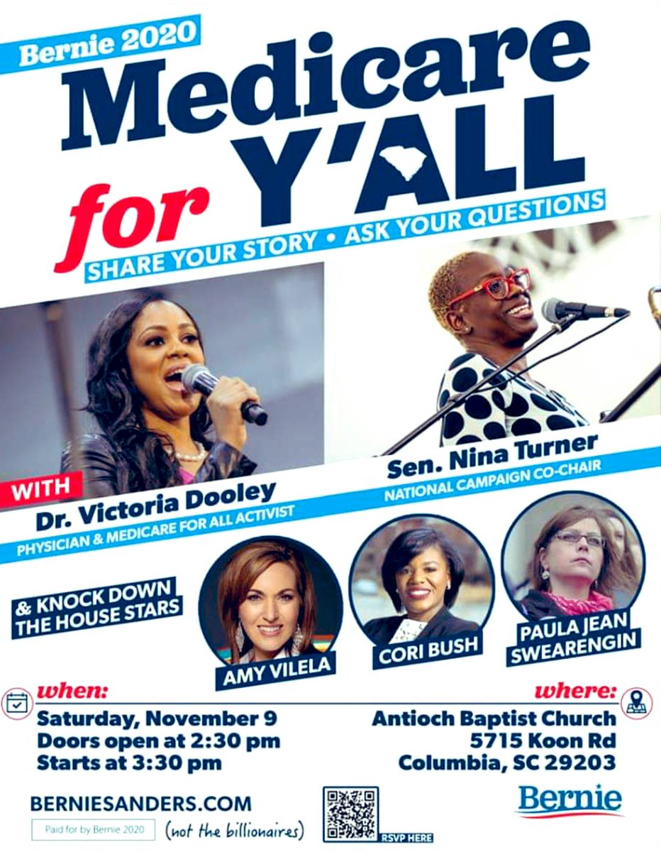 SOUTH CAROLINA are y'all ready for all of these phenomenal women? @CoriBush @ninaturner @amy4thepeople @paulajean2020 and @DrDooleyMD are coming to town on our #MedicareForYall Tour this coming weekend!