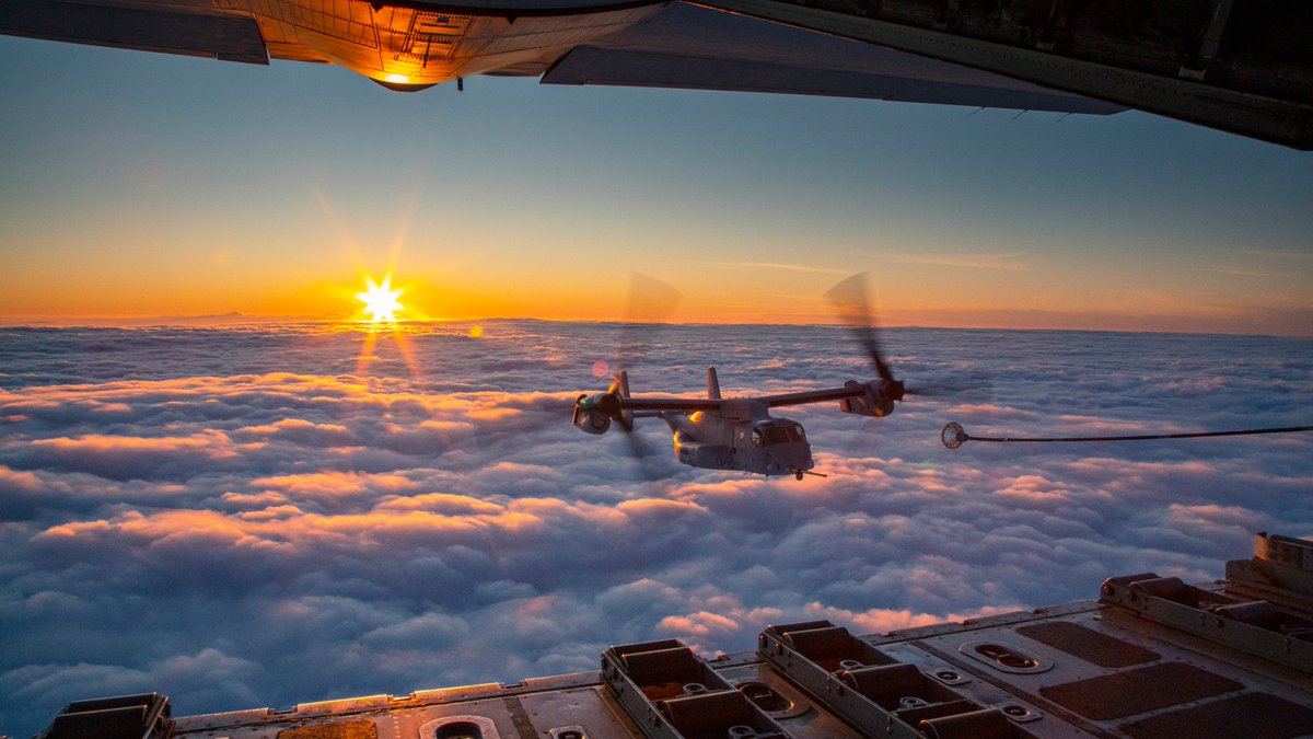 Late for the Sky A KC-130J Super Hercules, assigned to Marine Aerial Refueler Transport Squadron 152, conducts air-to-air refueling with Marine Medium Tiltrotor Squadron 265 near Okinawa, Japan.