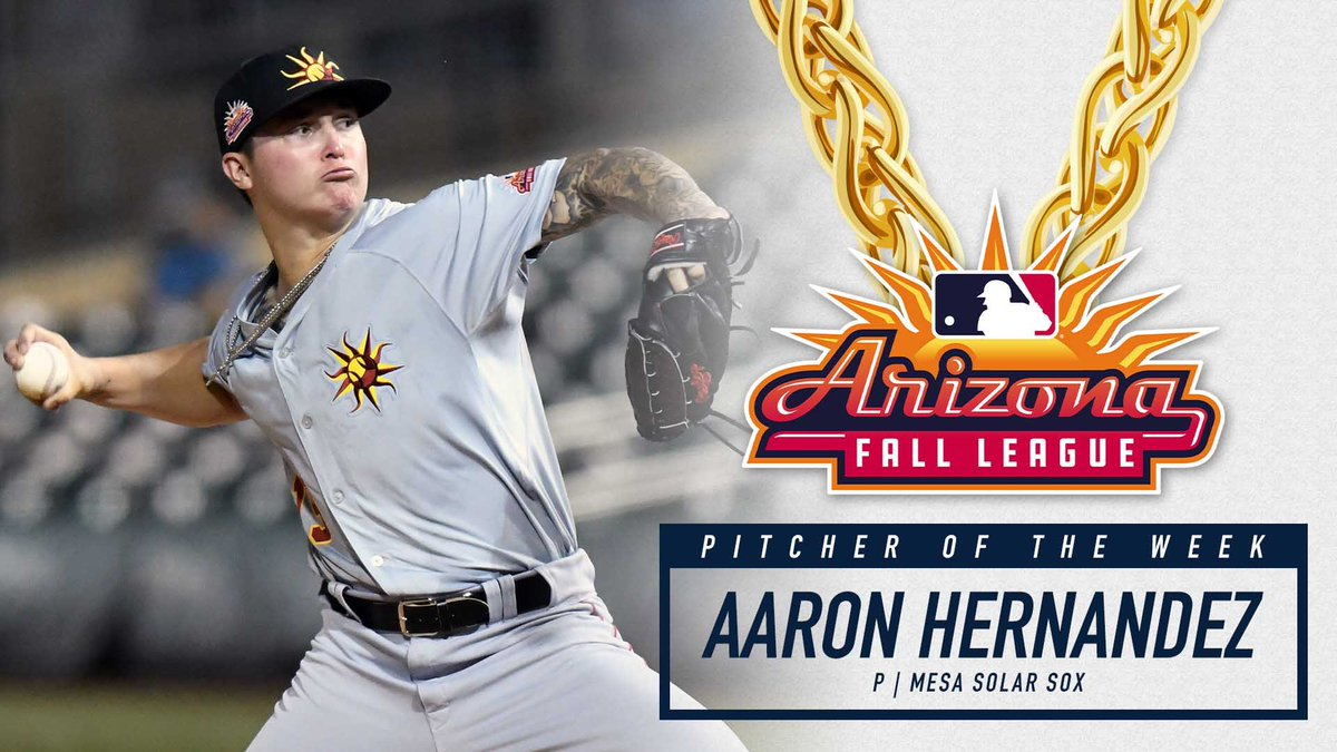 Congrats to @Aaronh___ on winning the final Championship Chains Pitcher of the Week award for the 2019 Arizona Fall League season!