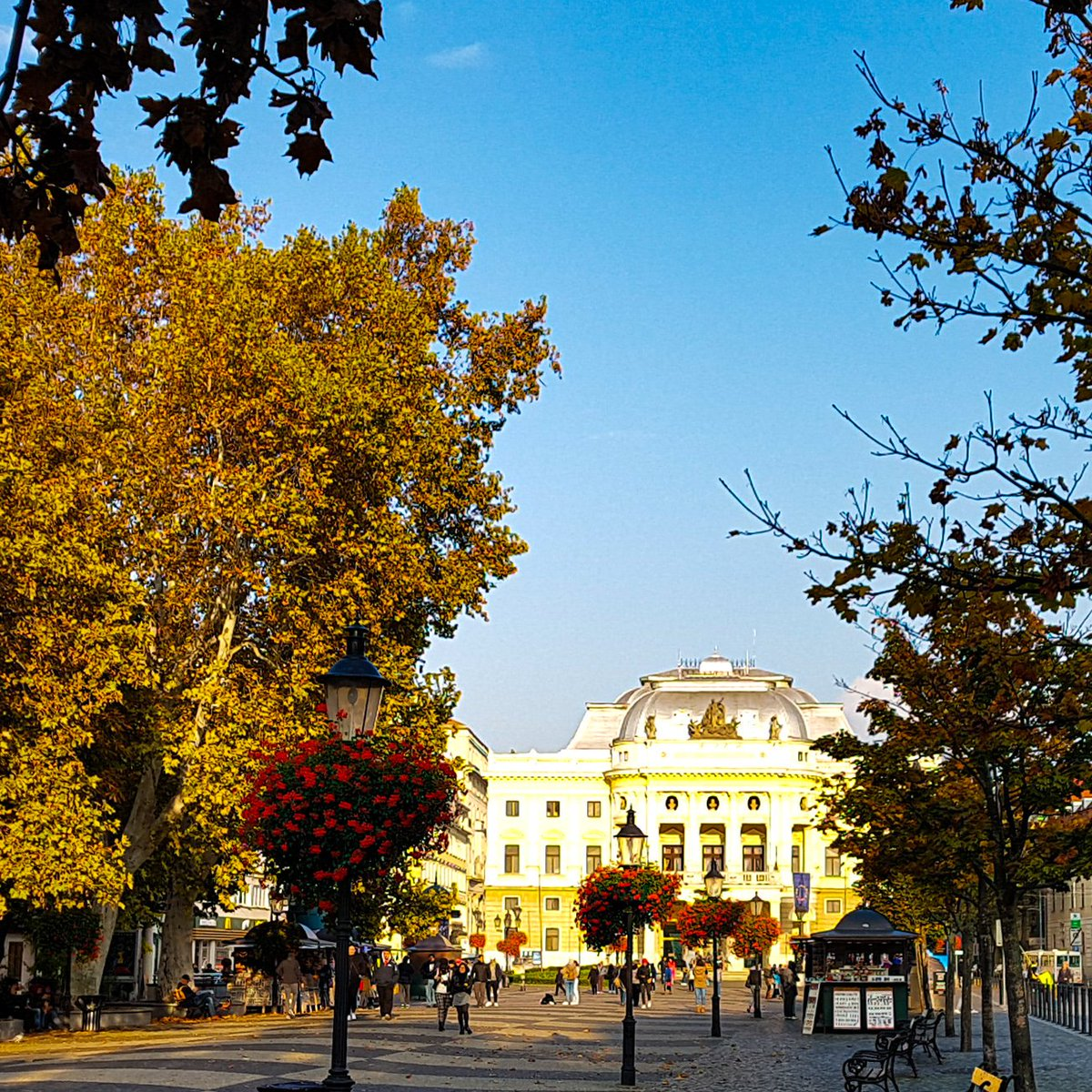#morningbeautiful is a bright (But really rather chilly) Bratislava with the opera house at the end of the walkway. What a pretty city 😍 #traveltribe #slovakia #travelphotography