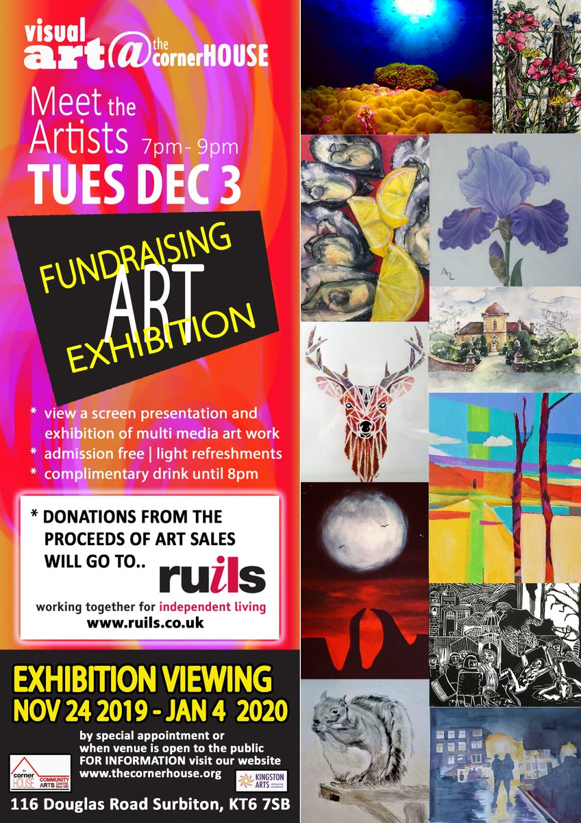 Our December art exhibition is raising funds for Ruils, a charity that supports helps people with disabilities and mental health issues be part of their community and to live life to the full. The exhibition runs from 24 Nov to 4 Jan, with a Meet the Artists Night on 3 Dec at 7pm