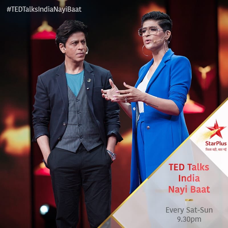 Super stoked to be on the stage of #TEDTalksIndiaNayiBaat, Tonight at 9.30pm on @starplus @hotstartweets @NatGeoIndia @starworldindia  @TEDTalks @iamsrk  The last picture in this series is for keeps! ( also I am giving a tough competition to his lustrous hair😬)