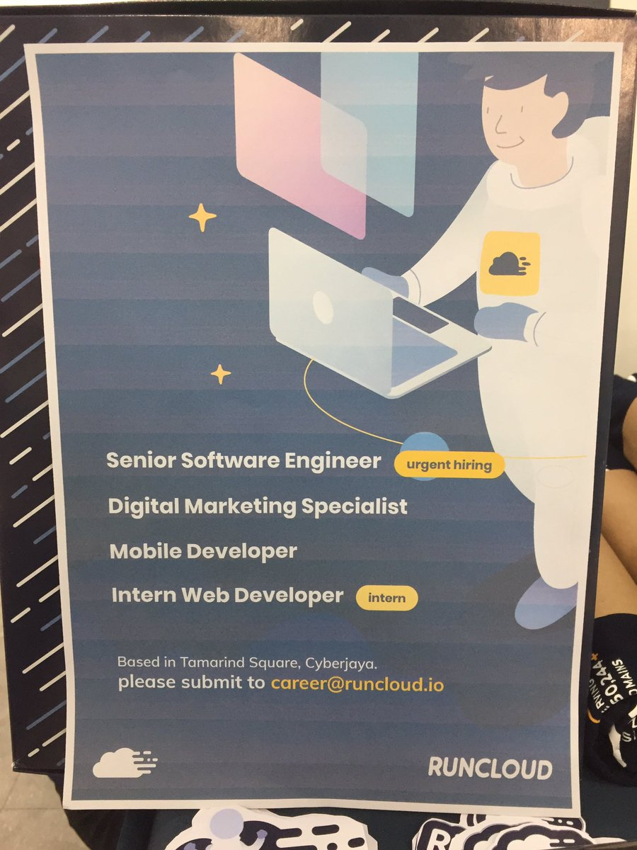 Hello guys, RunCloud is currently looking for :  1) Senior Software Engineer (urgent hiring) 2) Digital Marketing Specialist 3) Mobile Developer (intern) 4) Web Developer (intern)  Please submit your application to career@runcloud.io <br>http://pic.twitter.com/CYiJ4IPDWb