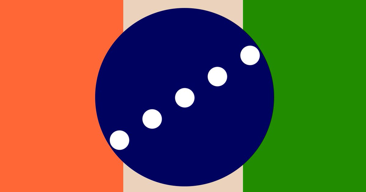 @4thFromOurStar Behold the Flag of Mars, The Colors represent Red for Mars' original color, Green for the Colonization, Blue for Space Travel, Cream for the Clearness of Intuition and Intention, and 5 white dots for the 5 months it takes to travel between Earth and Mars https://t.co/qaGNNp3qze