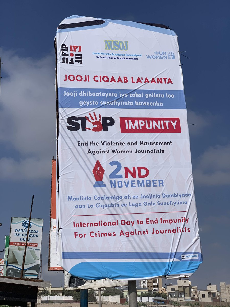 In the streets of #Mogadishu, our message is loud & clear: #StopImpunity of crimes against journalists | No to violence & harassment against women journalists | #Somalia needs accountability | #Somali journalists need justice. @TheVillaSomalia @SomaliPM @MinisterMOFA