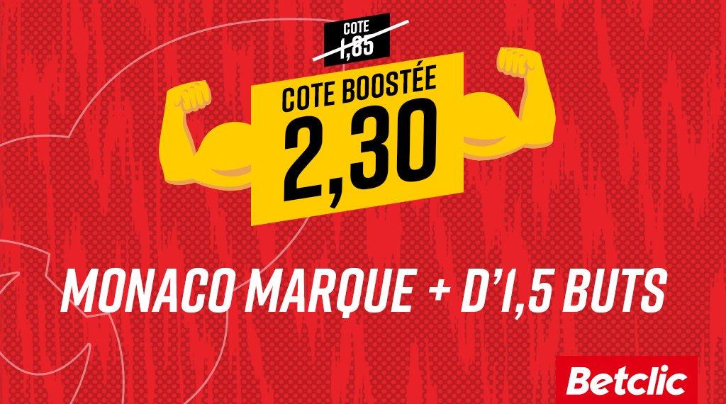 🔥 BOOST MONACO 🔴 🚀 Les Monégasques ont inscrit 16 buts lors des 6 derniers matchs... et la cote Monaco inscrit + d1,5 buts face à Sainté passe à 2,30 🤑 ⚠️ Mise max : 20€