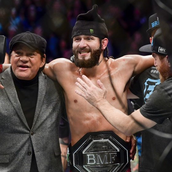 Jorge Masvidal celebrates Nate Diaz win