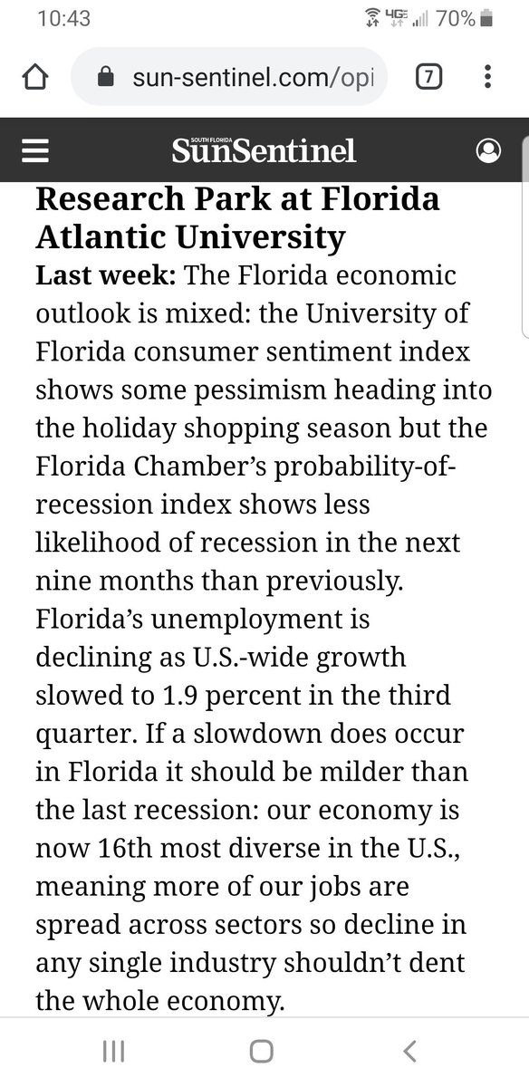 In this weeks @SoFlaOpinion #sf100 I discuss Floridas economic outlook. Read all the submissions at sun-sentinel.com/opinion/south-… @FlChamber #econdev