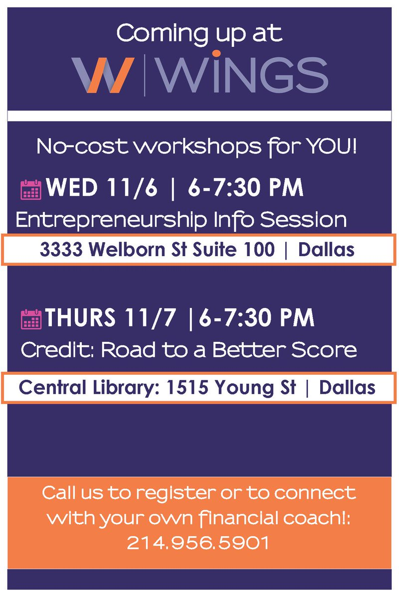 test Twitter Media - Peep our upcoming classes! Enterprise info session, credit class, and coaching!  For those of you interested in financial coaching, head directly to https://t.co/HZ1wY6Prdx to sign up for your first session. YOUR COACH, YOUR GOALS. No cost!  See you there ;) #WiNGSDallas https://t.co/hLG6NpZb9b