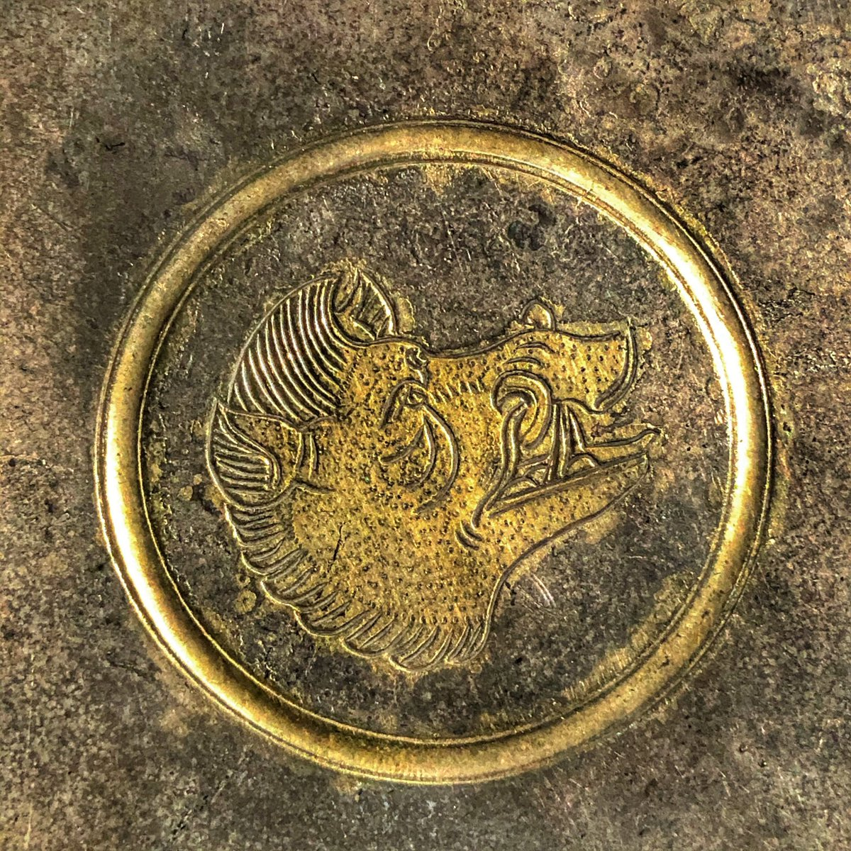 Plate with boar's head (detail). Iran, 6th-7th century, silver and gold. RMAH = Royal Museum of Art and History.  #AHMBrussels #Crossroads https://t.co/Pw3J5V6W5s