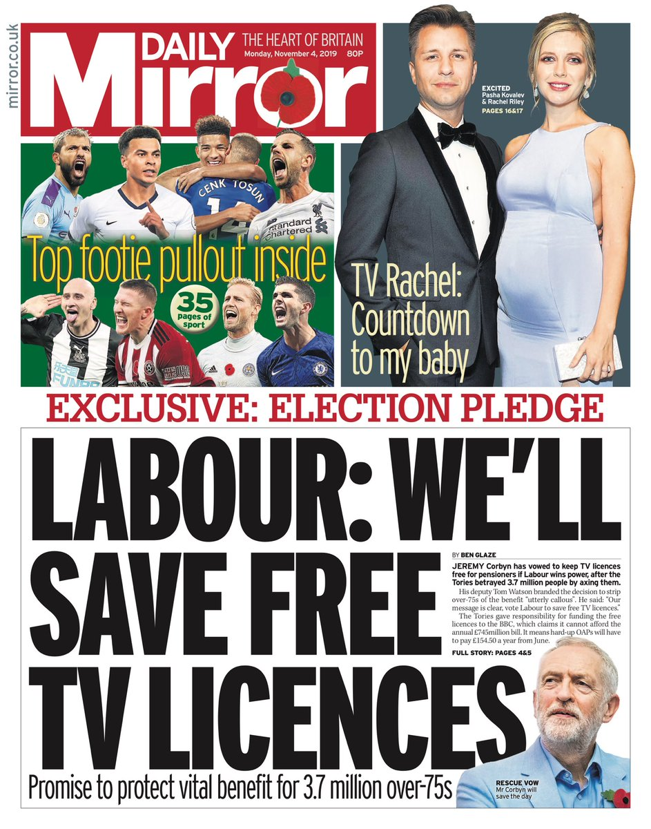 "Monday's Daily MIRROR: ""Labour: We'll Save Free TV Licences"" #BBCPapers #TomorrowsPapersToday"