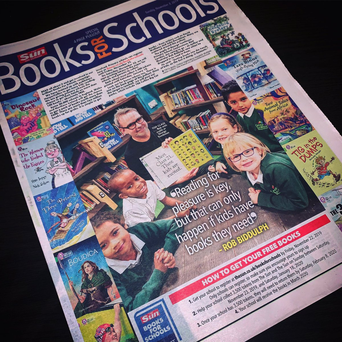 Muggins in today's edition of @TheSun. Very pleased to be supporting their #BookForSchools campaign which gets books into the hands of thousands and thousands of children that might not otherwise get that opportunity.
