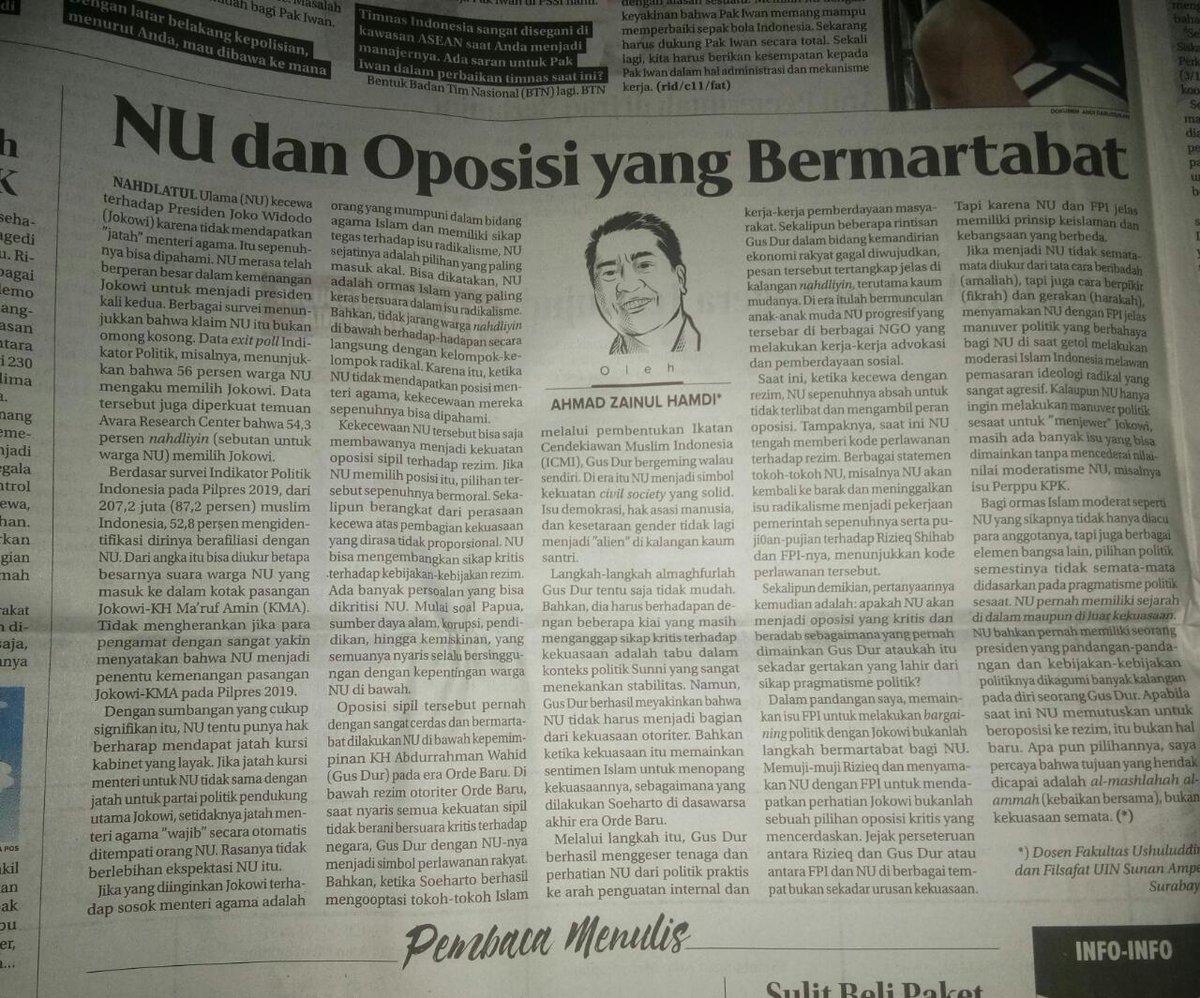 Tulisan saya di Jawa Pos hari ini. Cc @AlissaWahid @heruyaheru @Bekahapsara @Haisa_HS https://t.co/BIPcl3mB5J