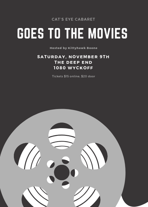 Do you love the Movies? We have movie themed Aerial, burlesque and sideshow coming up for you on Saturday, November 9th at the Deep End!   Tickets :   #letsgotothemovies #brooklyn #ridgewood
