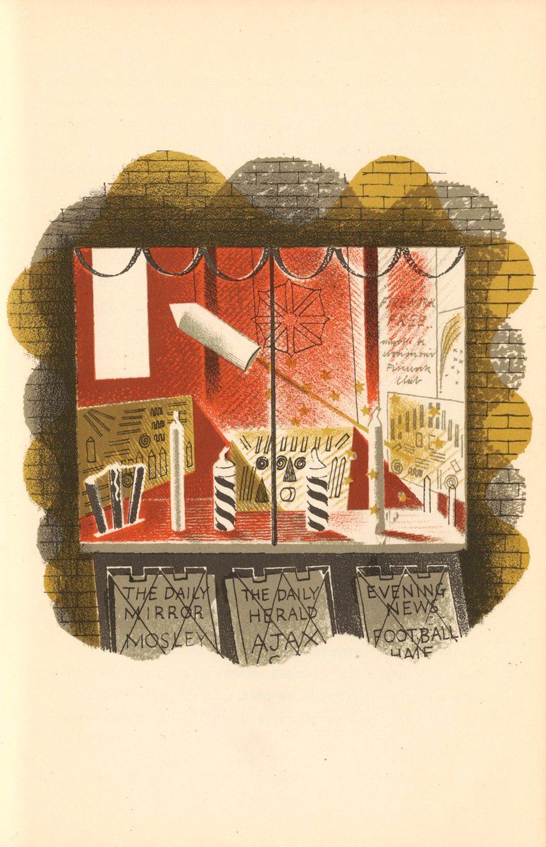 "#BookIllustrationOfTheDay is by Eric Ravilious for his lithographic sequence of shops in ""High Street"" (1935): Fireworks on sale for bonfire night! Hugely influential , there is a haunting stillness & clarity in his work. Exceptionally well considered design & beautiful light. <br>http://pic.twitter.com/VYwkaLzVNA"
