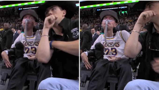 【影片】馬刺主場一球迷坐著輪椅,吸著氧氣瓶也要來看詹姆斯打球,這就是熱愛!