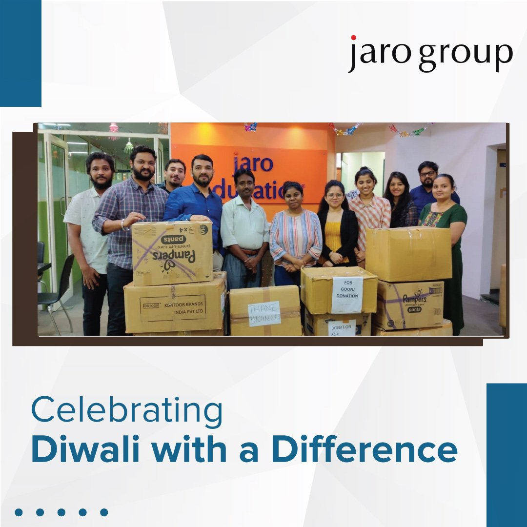 This Diwali, Jaro Group spread sparkles of happiness and smiles. With donation drive for GOONJ, in which every centre of Jaro Education across Mumbai contributed. #DiwaliWithADifference #JaroGivesBack