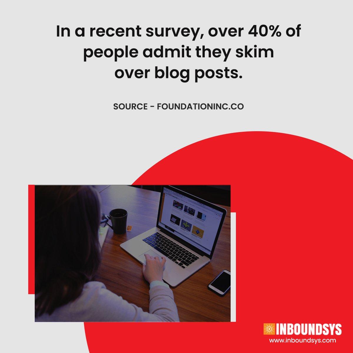 What % of people admit they skim over blog posts? #blog #blogposts #blogging #marketing #inboundmarketing #blogskimming #blogerstyle  #blogs #blogger    #styleblogger #lifestyleblogger #bloglife #bloggerlove  http://bit.ly/2WFx1Eupic.twitter.com/yJ5bMZQSfe