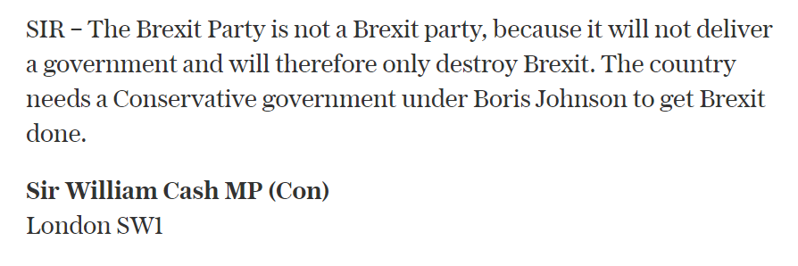 On Saturday in my letter to the Telegraph I said this. Now he adds insult to injury - he wants the ego trip of Proportional Representation and funks standing.