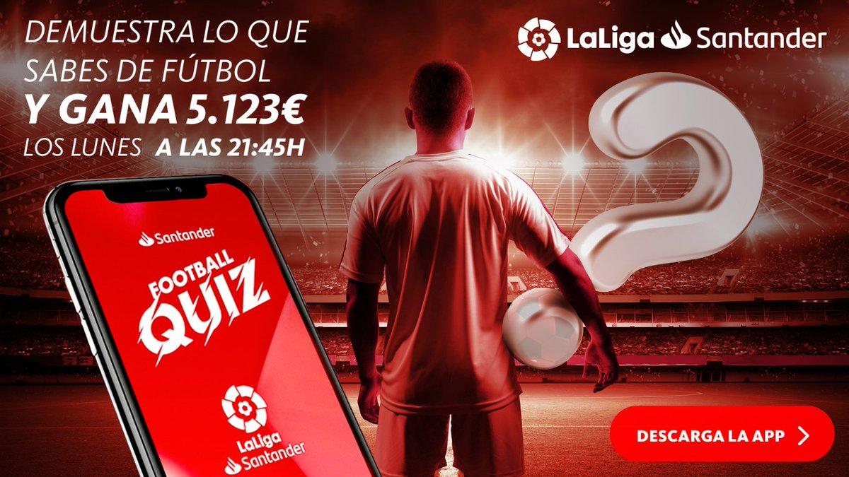 📢 ¡Empezamos en 15 minutos! ¡Última llamada! Descarga ya la app #SantanderFootballQuiz y gana 5.123€ demostrando lo que sabes de #LaLiga. 📲 iOS apps.apple.com/sr/app/santand… 📲 Android: play.google.com/store/apps/det…