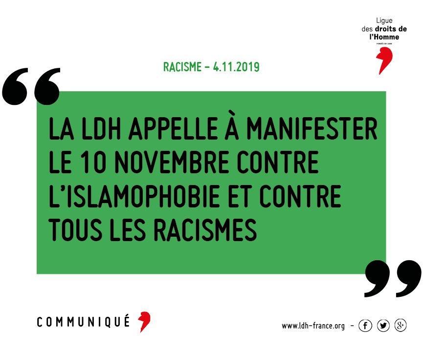 [Communiqué] La #LDH appelle à rejeter cette haine et à manifester une solidarité sans réserve à l'égard de celles et ceux qui en sont les victimes. Elle appelle à inscrire la lutte contre l'islamophobie dans la lutte contre toutes les formes de racisme. frama.link/Rassemblement1…