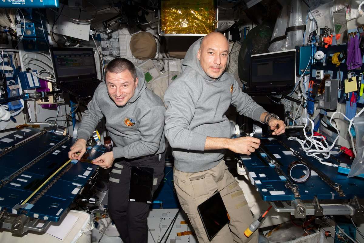 The spacewalks to upgrade the Alpha Magnetic Spectrometer don't start for a few weeks, but@AstroDrewMorgan and@Astro_Luca are already preparing aboard the @Space_Station. They created tape flags that will be used for marking tubes during the spacewalks.go.nasa.gov/2NCqLtj