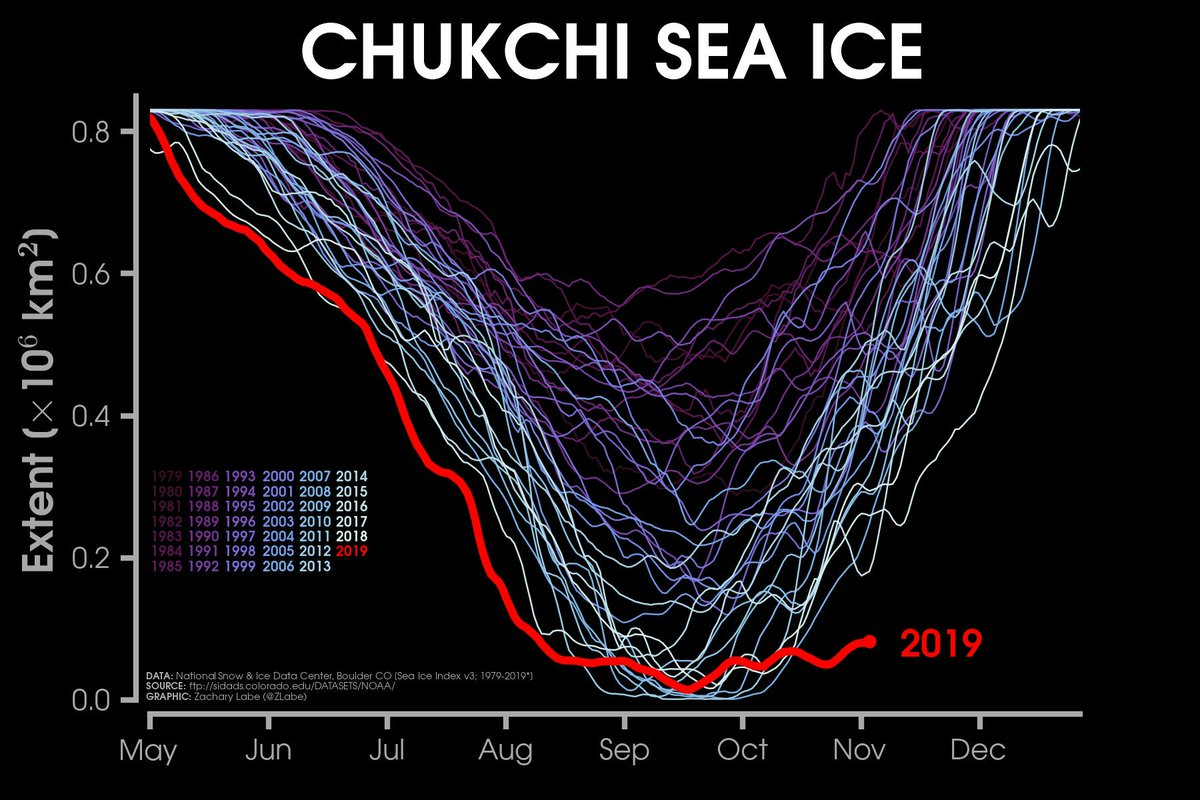 Line graph time series showing daily Arctic sea ice extent in the Chukchi Sea for each year from 1979 to 2019. 2019 is currently the lowest on record for early November and a large outlier compared to other years.