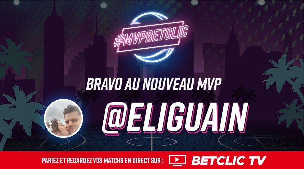 🏆 Félicitations à @ELiguain qui devient le 1er #MVPBetclic Il remporte 100€ de Freebets et va pouvoir vous partager ses pronos Basket US toute la semaine 🤑