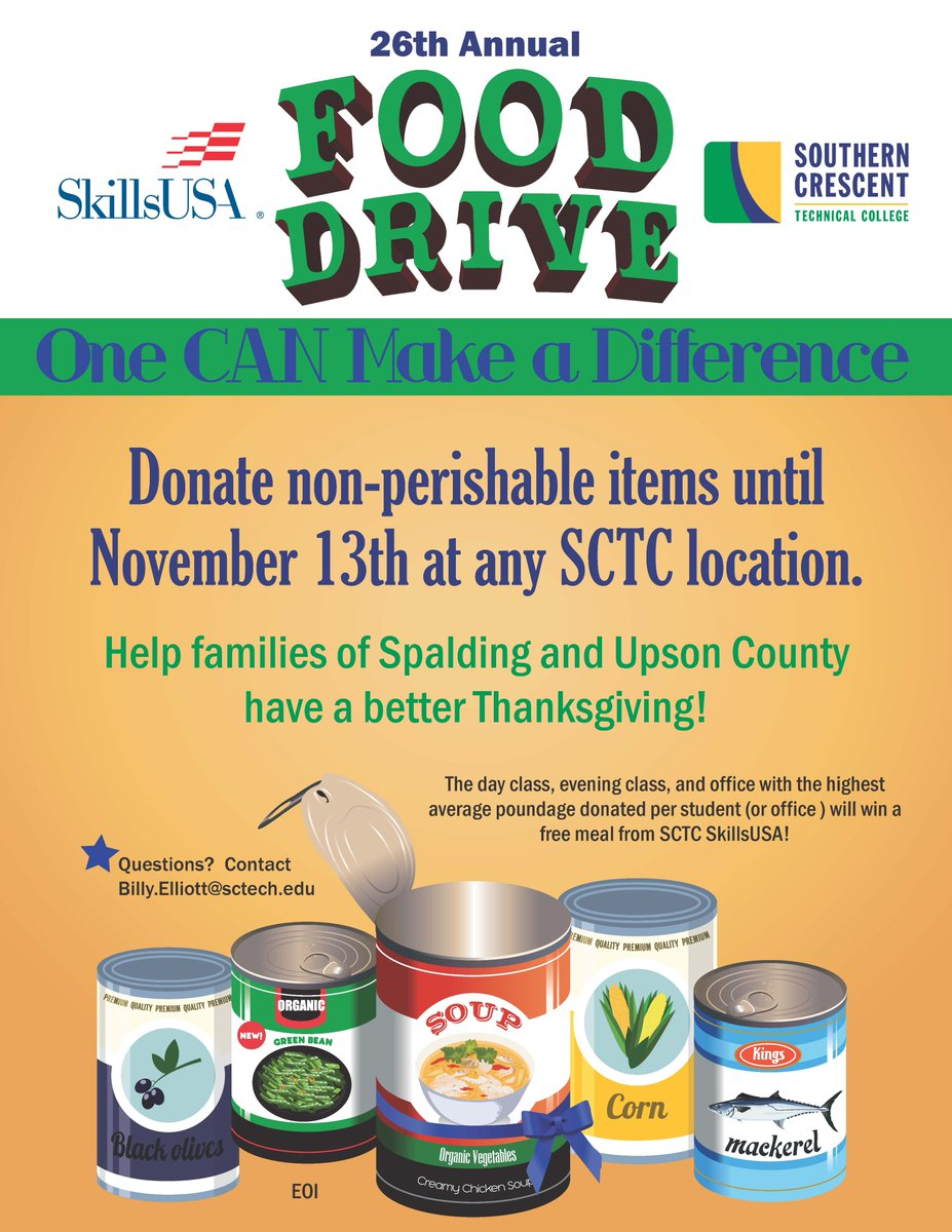 The SkillsUSA food drive is underway!  If you do not see a donation box in your room, ask your teacher or email billy.elliott@sctech.edu.   #OneCanMakeADifference #SCTCTigers #BuildingStrongStudents #BuildingStrongCommunities<br>http://pic.twitter.com/A0pO4WjXiC