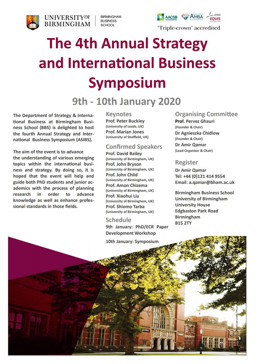 We welcome you to the 4th #Annual #Strategy & #International #Business Symposium, 9th-10th Jan 2020, Keynotes Prof Peter Buckley & Prof Marian Jones - Calling #PhD students & #ECRs to submit papers, #Paper #Development #Worshop - Deadline 18th December - Submit interest to me! pic.twitter.com/nJYY7XktXB