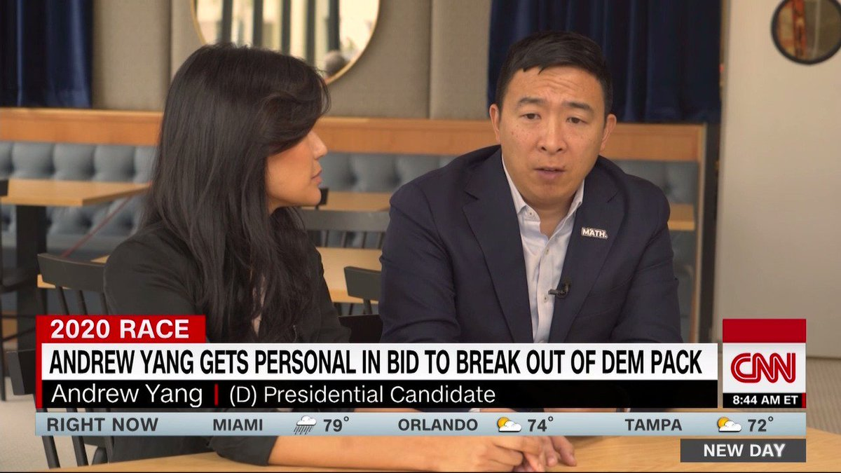 I realized that he was serious is when he said he was going to quit his job, Andrew Yangs wife Evelyn tells @DanaBashCNN, saying his $1,000/month Freedom Dividend and his Humanity First slogan is the reason why I let him run for president. cnn.it/36pUXAi