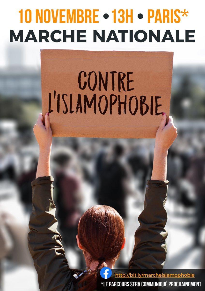 Rendez-vous ce dimanche 10 novembre pour une grande marche contre l#islamophobie Inscrivez-vous sur cette page pour être informés du parcours : facebook.com/events/5567423…