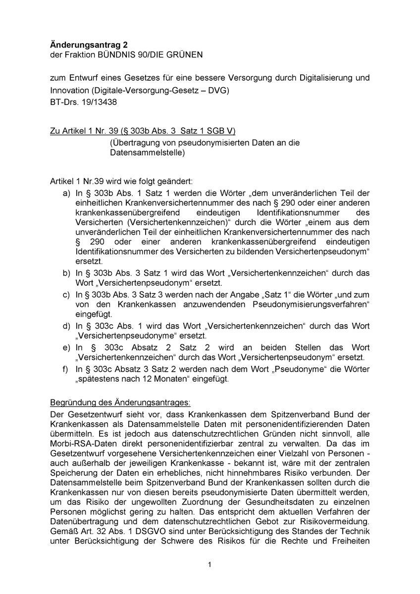 9) Änderungsantrag für den Gesundheitsausschuss von @MariaKlSchmeink zur Pseudonymisierung im #DVG. Die FDP hat einen ähnlichen Antrag gestellt. Abstimmung ist Mittwoch bei abschließender Beratung im Ausschuss.