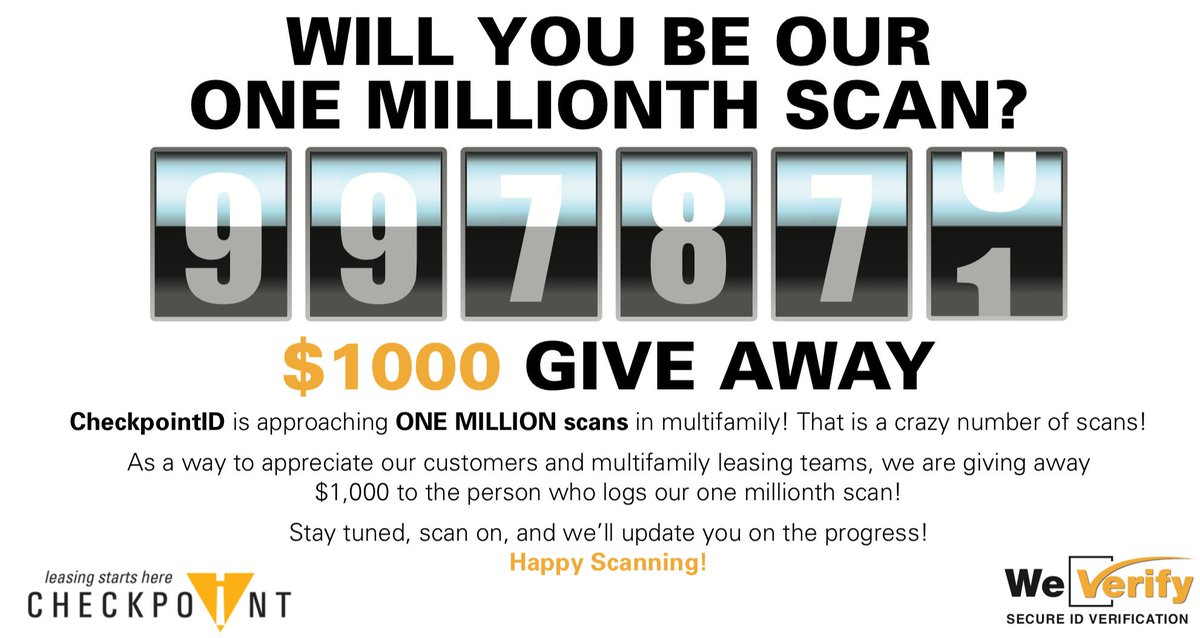 We're fewer than 3000 scans away from 1 MILLION! Keep scanning and stay tuned... because we'll be announcing our winner this week! ;)   #checkpointid #safertours #propertymanagement #weverify #rentalfraud #multifamily #idscanningpic.twitter.com/2QYiqTE814