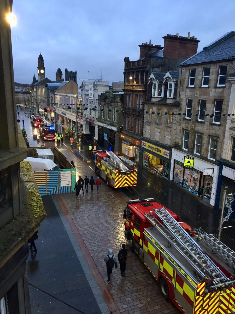 Scene outside Paisley Centre after part of roof collapsed inside. Thankfully everyone safe.