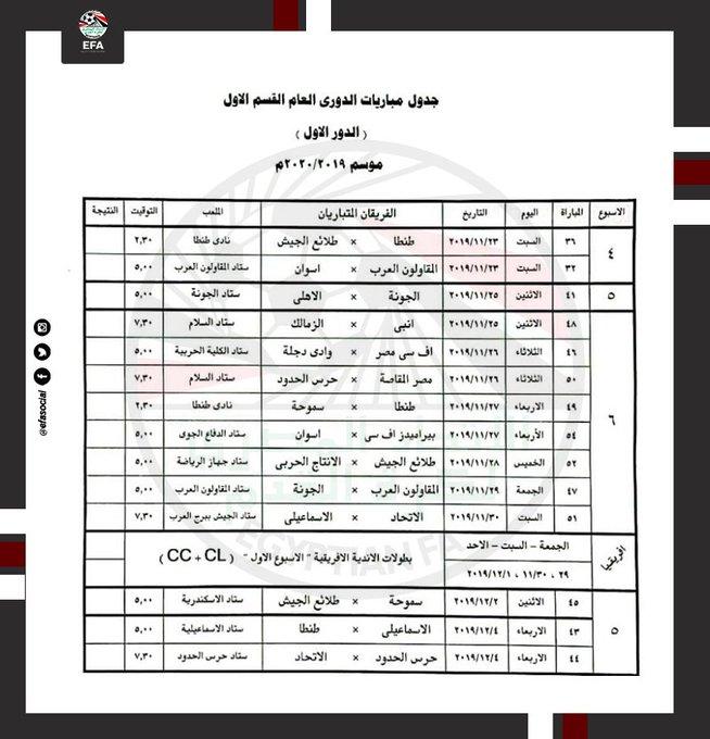 تحديد مواعيد مباريات الأهلي والزمالك بالدوري المصري