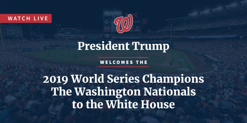Next up: The 2019 World Series Champions, the Washington @Nationals, visit the White House! ⚾ Watch LIVE at 1:30 p.m. ET: 45.wh.gov/RtVRmD