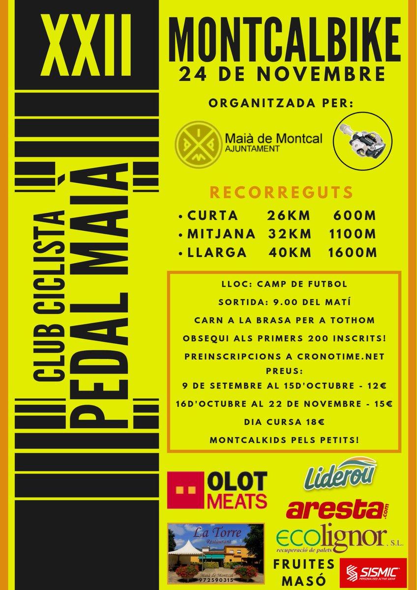 Els companys de Pedal Maià organitzen la XXII Montcalbike el 24 de novembre. 3 circuits a escollir. No tens excusa, no te la pots perdre!