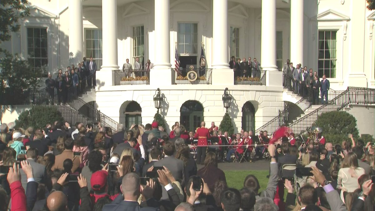 A first: @marineband plays Baby Shark song as @Nationals are introduced onto the White House balcony for their tribute.